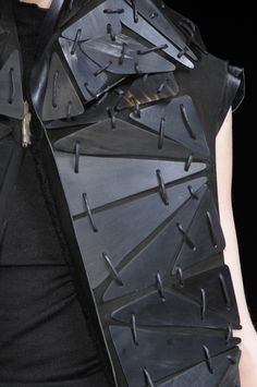 Contrasting materials & connecting segments - smooth embellishment; black on black fashion details // Rick Owens FW10