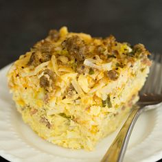 Slow Cooker Sausage, Hash Brown & Cheddar Breakfast Casserole | Brown Eyed Baker  @Michelle Moss