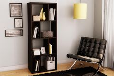 Entrancing Wooden Shelving Unit Idea Finished in Espresso with Tall Design and Eight Shelves Idea in Four Levels also Completed with Magazine Holder
