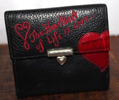 Brighton Black Leather Wallet Heartbeat of Live is Love #Brighton #wallet