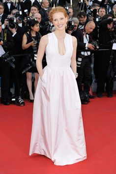 #JessicaChastain in a sweet baby pink gown from #AlexanderMcQueen's A/W 12 collection. #Cannes 2012
