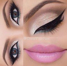 Soft pink lip with beautiful eye makeup
