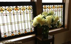 Pair Arts & Crafts Leaded Antique 1900 Stained Glass Windows - Harp Gallery Antique Furniture