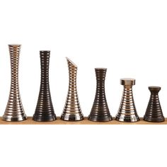 """Modern Brass Metal Luxury Chess Pieces Set- Silver & Antique Chessmen 