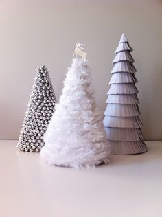DIY - Cereal Box Xmas Tree- make into cone and cover with fluffy yarn