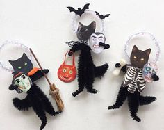 Black Cats Set Four Trick or Treat Kitties Vintage Look Chenille Ornaments Witch Dracula Skeleton