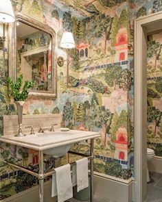 """Inside Penny Morrison's Century Welsh Country Home The """"Peacock Garden"""" wallpaper in this enchanting powder room by Garden Wallpaper, Wallpaper Wall, Scenic Wallpaper, Bathroom Wallpaper, Wallpaper For Powder Room, Peacock Wallpaper, Chinoiserie Wallpaper, Bathroom Inspiration, Interior Inspiration"""