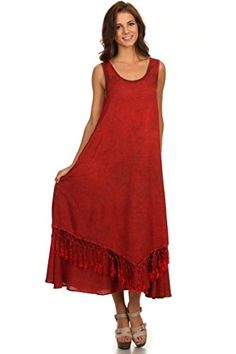 Sakkas 15222 - Emma Relaxed Fit Scoop Neck Double Layered with Fringe Tank Dress - Red - 1X/2X Sakkas http://www.amazon.com/dp/B00WQ7IJX0/ref=cm_sw_r_pi_dp_gI-Vwb1J7PCDN