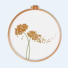 2 Flowers cross stitch pattern modern cross stitch by ThuHaDesign