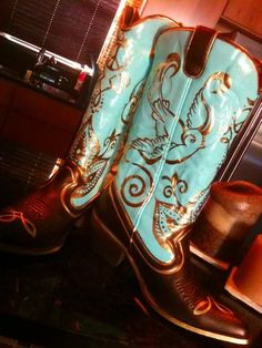 Free for All: Hand painted cowboy boots.