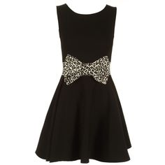 Black Leopard Print Bow Skater Dress (150 HRK) ❤ liked on Polyvore featuring dresses, leopard print dress, leopard skater dress, bow dress, leopard print skater dress and skater dress