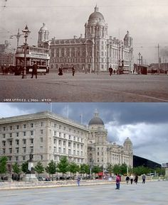 Pier Head, 1908 and 2019 Liverpool Town, Liverpool History, Old Photos, The Beatles, Taj Mahal, Beautiful Places, The Past, England, Keith Jones