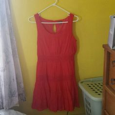 Bright Red-Orange Dress Super cute dress for any summer/fall festivals! Has lace in two bands around the dress. Never worn because it was too big so perfect condition!  No trades but willing to negotiate!! Lily Rose Dresses Midi