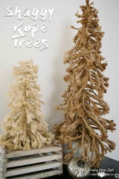 DIY Shaggy Rope Christmas Tree Exploded - Country Design Style - - DIY Shaggy rope tree made from two types of rope for a bottle brush inspired tree. This is the second DIY Shaggy rope tree I've made. Shabby Chic Christmas, Diy Christmas Tree, Rustic Christmas, Christmas Projects, Homemade Christmas, Primitive Christmas Tree, Country Christmas Trees, Fabric Christmas Trees, Natural Christmas