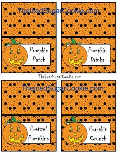 Pumpkin food label tent cards for sale at The Iced Sugar Cookie.