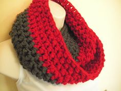Scarlet and Gray Cowl Infinity Circle Scarf by madebymandy35, $18.00