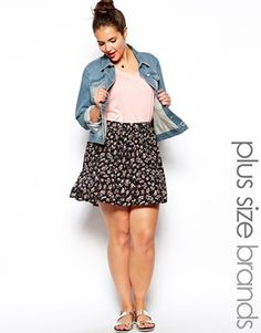 Image 1 of New Look Inspire Printed Button Through Skater Skirt