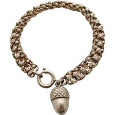 Antique French 800-900 silver bracelet with acorn fob