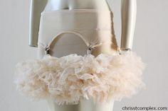 Tutu Cream Lingerie Skirt Suspender Tulle Tutu Ballet by chrisst, $189.00