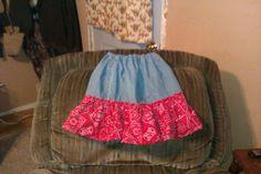 Jean and bandana girls skirt