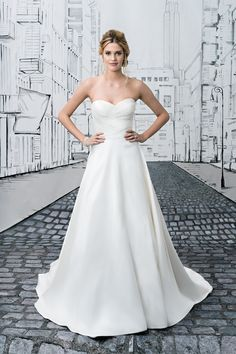 Justin Alexander Silk Dupion A-Line Dress with Sweetheart Neckline
