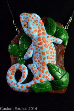 Polymer Clay Tokay Gecko Pendant by CustomExotics on Etsy, $25.00 Polymer clay reptile animal