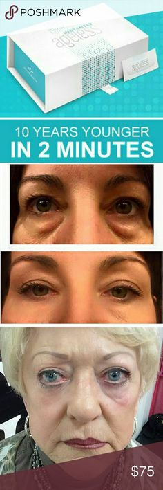 instantly Ageless Within 2 minutes, Instantly Agelessreducesthe appearance of under-eye bags, fine lines, wrinkles and pores, and lasts 6 to 9 hours.  This specifically designed micro cream targets areas that have lost elasticity — revealing visibly toned, lifted skin.  Instantly Ageless™ is a powerful anti-wrinkle microcream that works quickly and effectively to diminish the visible signs of aging.  SIZE: 5 strips of 5 multi-use vials Jeunesse Other
