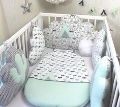 Bumper Baby, Or Decoration Room Child, 5 Pillows, Clouds, Cactus And Tepee  Sea Green, Clear, White And Gray. Tapis Chambre Bébé GarçonChambre Bébé Vert  ...