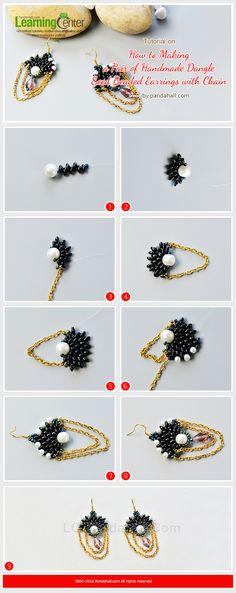Tutorial on How to Make a Pair of Handmade Dangle Seed Beaded Earrings with Chain from LC.Pandahall.com