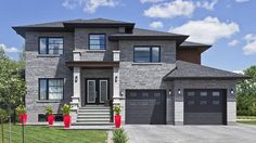 The Lorado stone differentiates itself by its zen, modern and popular look. Inspired by contemporary architecture, this stone will add a touch of elegance to your home. Luxury House Plans, Dream House Plans, Dream Home Design, House Design, Ultra Modern Homes, Facade House, House Facades, Architectural House Plans, New Home Construction