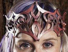 Pretty Leather Filigree Tiara Crown, 99.00, via Etsy.