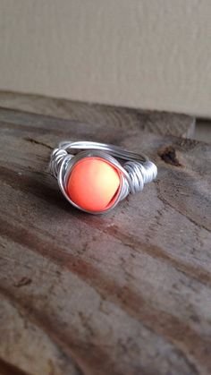 Silver Wire Wrapped Coral/Orange Bead Ring by SoSheDidShop on Etsy