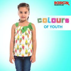 Give colours to your little princess's wardrobe with this multi-coloured sleeveless top, perfect for daily wear. Get it here. #Basicxx #BasicxxOnline #Riyadh #Jeddah #Dhahran #InspirationFulfilled #BasicxxKids