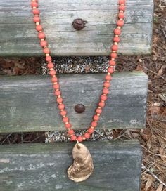 Orange and gold bead necklace oyster shell by CarolinaPearlz on Etsy