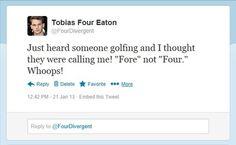 "Tobias ""Four"" Eaton on Twitter hears his name being called."