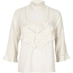 Cream frilly Victoriana blouse - blouses - tops - women