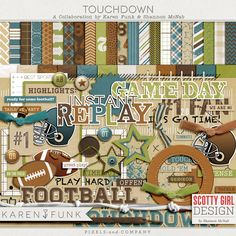 available at P& Co.    Karen Funk & Shannon McNab bring you Touchdown - a collaboration all about football. Scrap about your favorite team or player, super-bowl traditions, memorable football games, etc. Includes : 34 papers & 55 elements
