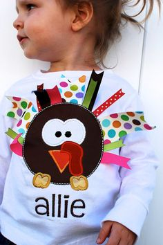 Ribbon Turkey Shirt - one of my favorite projects yet! (Available in my Etsy shop FreckledPink)