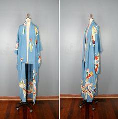 vintage silk kimono MORNING GLORY by PrettyLittleWorldVtg, $165.00