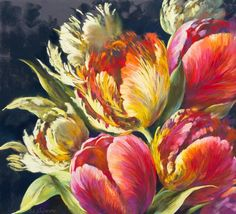 Pink tulips, yellow tulips, cream tulips, colourful tulips- Pastel Painting by Nel Whatmore - Never Say Never