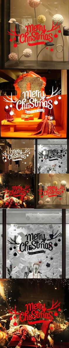 DIY Christmas decorations Christmas flowers window sticker Holiday New Year Decoration Decal Window stickers Home decor $2.68