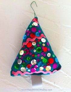 Diva style fabric Christmas tree ornament.