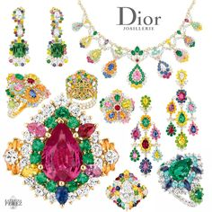 Dior Cher Dior collection 2013: rings, earrings, necklace in white and yellow gold encrusted with bright colour precious gemstones: emeralds, sapphires, rubies, diamonds.