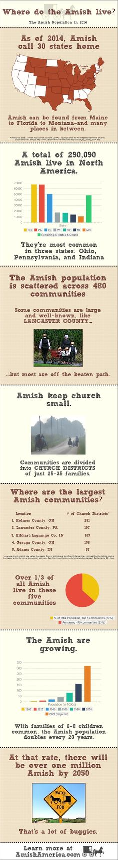 With a population that doubles roughly every 20 years, the Amish are on pace to cross the 300,000-person threshold within the next year or two. As of 2014, the Amish have set up shop in 30 states (plus Ontario), from traditional strongholds such as Pennsylvania and Indiana to more recent communities in Colorado, Maine, and Tennessee.