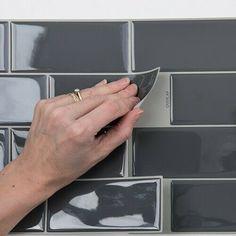 Epoxy Domed Tile Sticker Large Metro Tiles Grey 22 x pack of 5 sheets Bathroom Tile Stickers, Tile Decals, Metro Tiles Bathroom, Bathroom Vinyl, Office Bathroom, Brown Bathroom, Vinyl Tiles, Small Bathroom, Bathroom Ideas