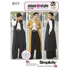 Trust Mimi G to keep you on trend this season. Pattern features a duster length coat or vest, long or short sleeve knit top and wide leg pants with cuff and high waistband. Mimi G Style for Simplicity sewing patterns.