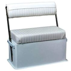 Cooler Seat with Stainless Steel Arms, White - Wise Boat Seats Upholstery Cushions, Seat Cushions, Pontoon Boat Seats, Pontoon Stuff, Viking Yachts, Fold Up Chairs, John Boats, Boating Holidays, Home