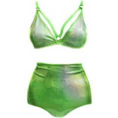 ChainCandy swimwear collection of 2015. Holographic neon green swimsuit, made of hologram spandex. Triangle cut top made with padding and adjustable straps feat