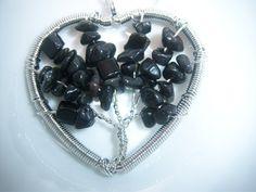 Natural Black Agate Gemstone Wire Wrap Pendant