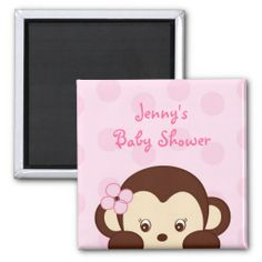 Mod Girl Monkey Baby Shower Favor Magnets